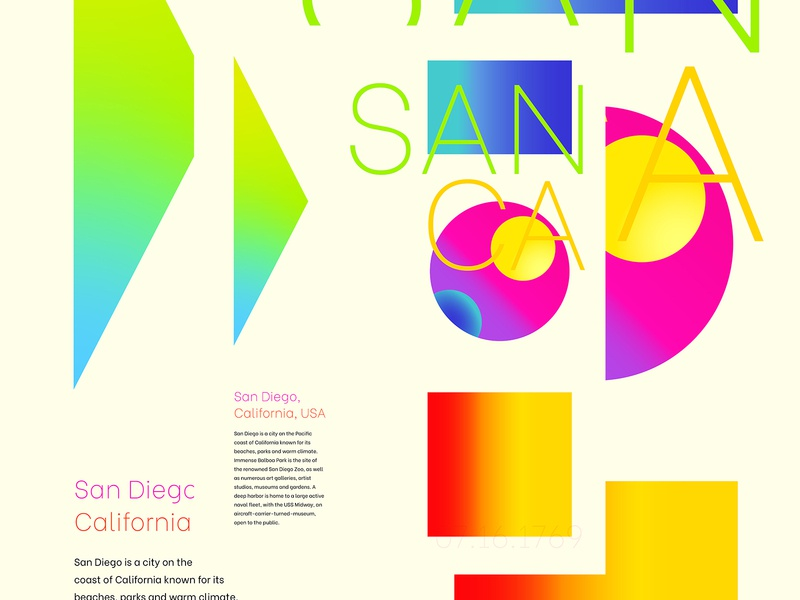 San Diego, CA concept vector typography poster design poster art design colorful poster california san diego