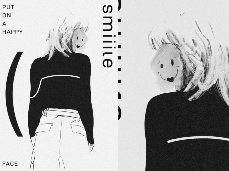 SMiiiLE! grain texture happy smile typography sketch art illustration illustator poster design poster