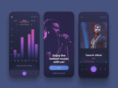 Music Player App Design ux ui song shadow round playlist player music mobile minimal iphone gradient digital design dark colors app