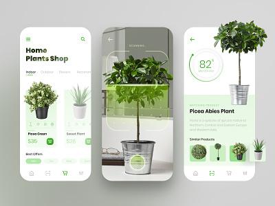 Plant Shop App plant app green plants plant scanning virtual reality virtualreality ui mobile app design mobile app e-commerce design e-commerce app e-commerce ecommerce app design app