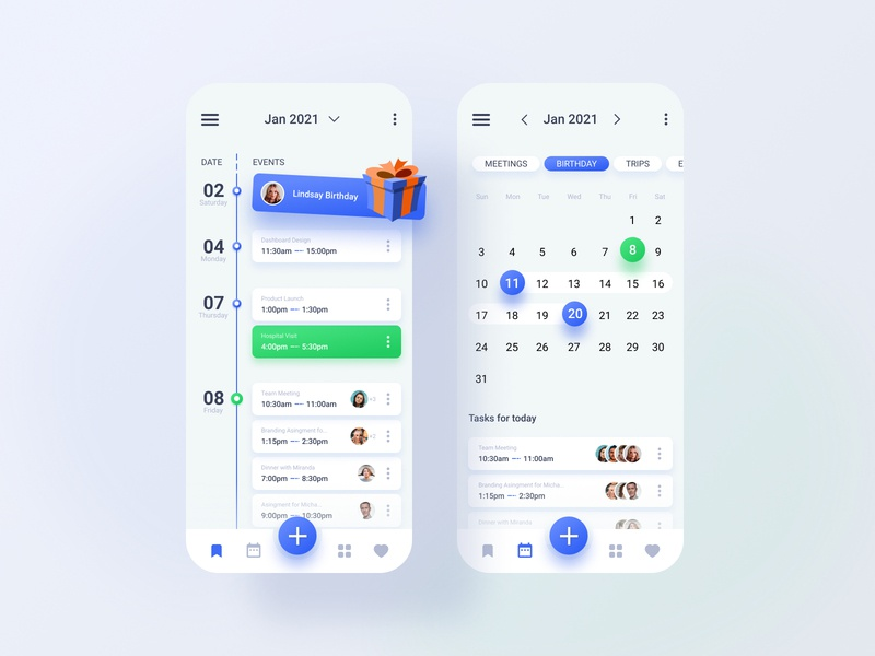 Calendar App Design schedule time picker datepicker appointment white ux ui shadow round calendar mobile minimal iphone gradient digital design clean colors app