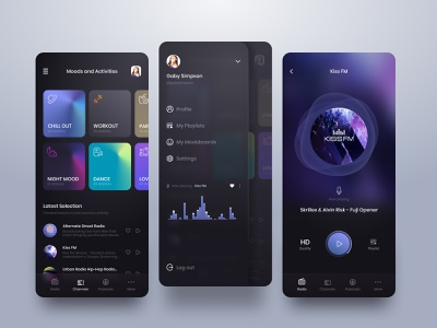 Radio & Podcast Player App holographic holography card podcast radio app dark colors gradient iphone minimal mobile music player playlist round shadow song ui ux