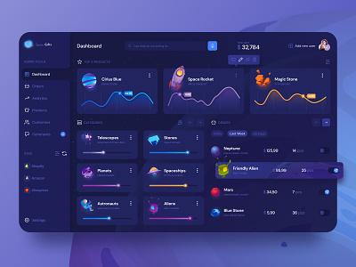 Store Management Dashboard web design icons app cards gradient 3d dashboard web desktop sales graph chart dark