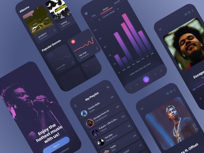 Music Player App Design app colors dark design digital gradient iphone minimal mobile music player playlist round shadow song ui ux