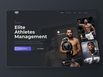 👊 First Round Management website redesign concept sport spotr mma ufc skeuomorphism clean typography site ux landing design web ui