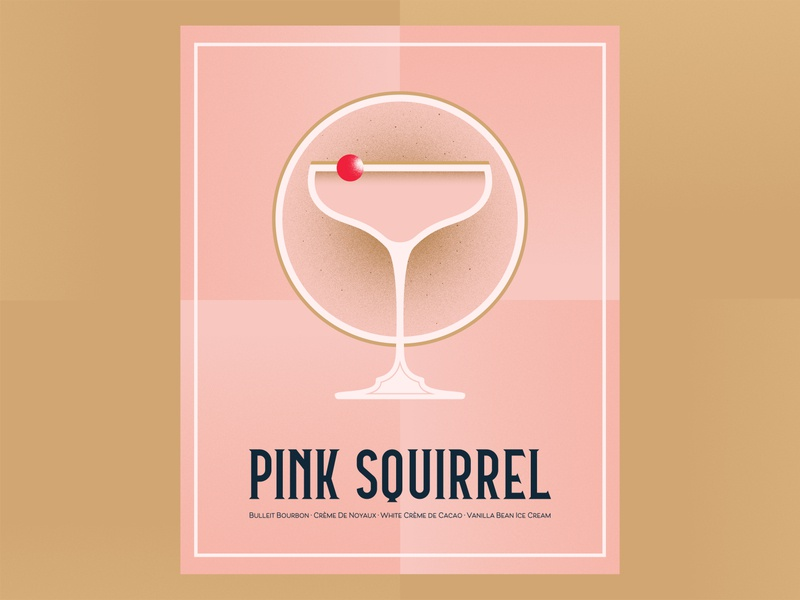 Pink Squirrel coupe glass pink alcohol drink cocktail recipe illustration design