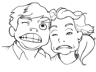 The Cute Couple illustration caricature people cartoon pen ink funny face
