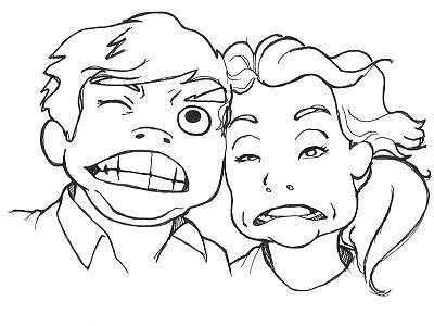 The Cute Couple illustration caricature people cartoon pen ink funny face