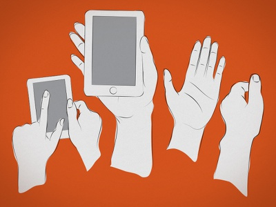 Techy Hands line art drawing sketch hand device mobile fingers pointing vector illustration