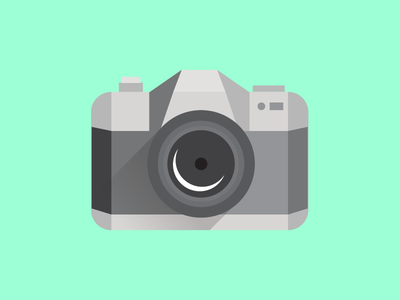 Say Cheese long shadow boxy origami camera vector geometric illustration icon iconography minimal