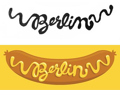 Das ist eine Bratwurst hand lettering berlin germany type illustration hand drawn typography sausage bratwurst mustard script