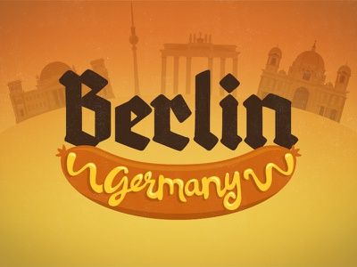 Berlin, Ich liebe dich berlin germany illustration architecture hand drawn typography script bratwurst weiner mustard