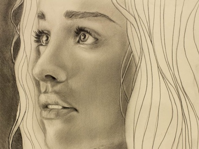 Khaleesi drawing photorealism illustration game of thrones daenerys targaryen portrait graphite face woman queen pencil