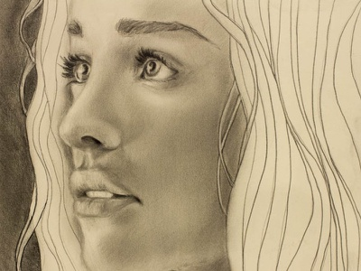 Khaleesi drawing photorealism illustration game of thrones daenerys targaryen portrait graphite face woman queen pencil