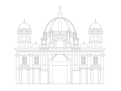 Berliner Dom ustwo berlin germany architecture illustration line art