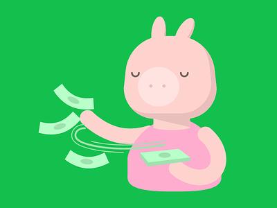 Make it Rain character illustration cartoon colorful pig money finance