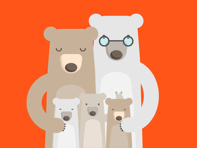 Happy Family ears bunny character illustration cartoon colorful bears family