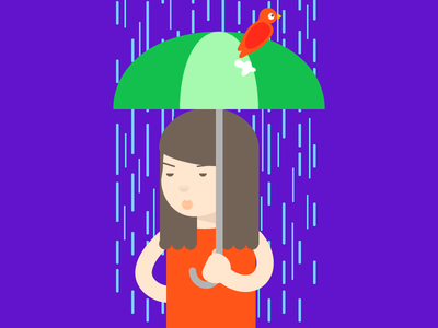 Sh*t Happens character illustration cartoon colorful rain umbrella woman bird poo