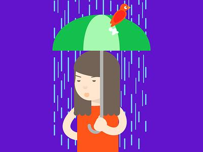 Sh*t Happens character illustration cartoon colorful rain umbrella woman bird poo