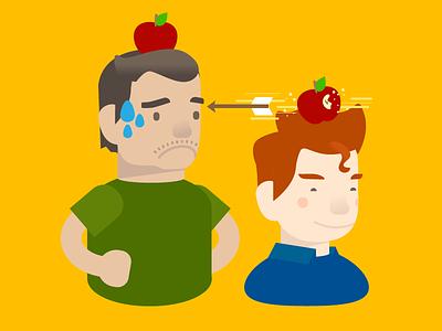 An Apple A Day II character illustration cartoon colorful archery apple boys men