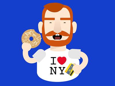 Bagel State of Mind illustration character cartoon colorful new york nyc bagel metrocard beard redhead man eating