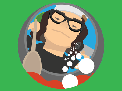 Saucy man nostrils perspective hipster character flat angle skater sauce cooking low angle illustration