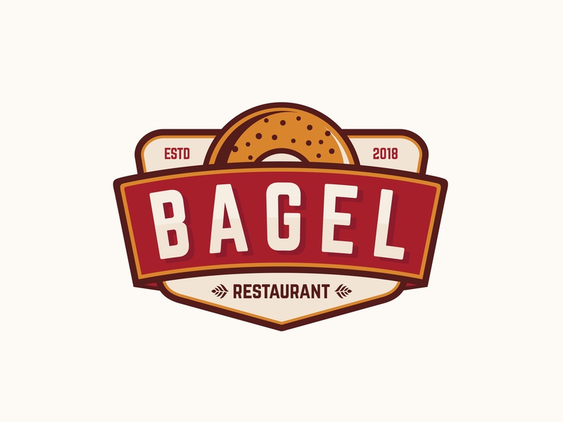 Bagel Logo Concept emblem element eat drawn dessert design croissant collection cake cafe burger breakfast bread banner bakery baguette bagel background art american