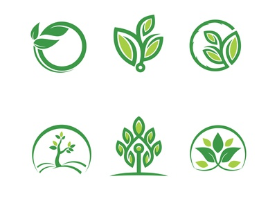 Tree Logos Collection In Flat Style Vector