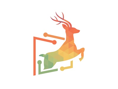 Vector Illustration Of Deer Geometric Logo 2