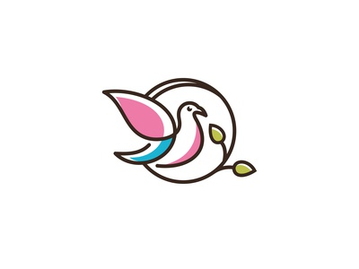 Vector Logo Of Leaves  Birds Icon Line Art Picture 1