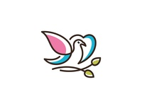 Vector Logo Of Love  Leaves  Birds Icon Line Art Picture 1