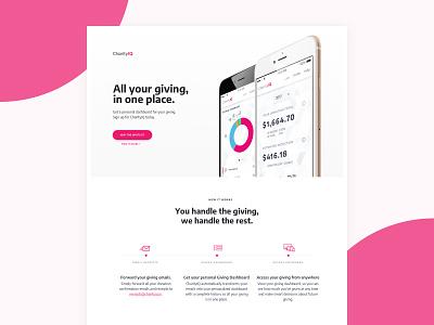 CharityIQ app concept minimal pink charity donation