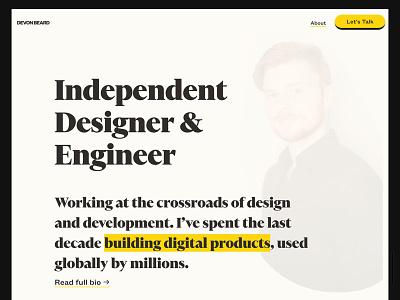 Personal Site fbd50f fefbf5 founders grotesk financier design clean bold 090909 minimal