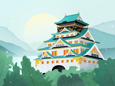Architectural landscape illustration move to color cool illustrations texture illustration