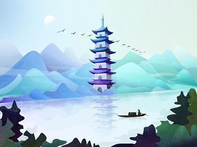 古塔扁舟 The pagoda and small boat building illustration character