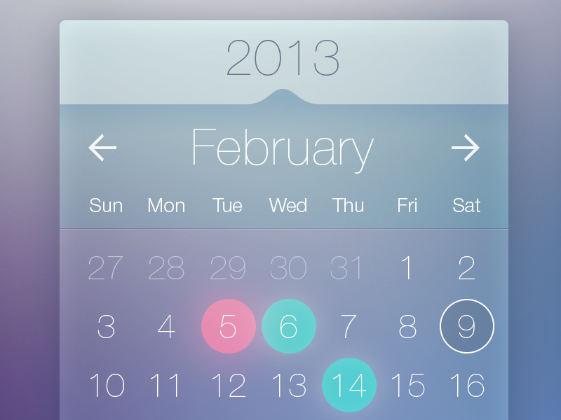 Calendar Widget ios ui iphone calendar app psd free clean ios7 flat interface rounds