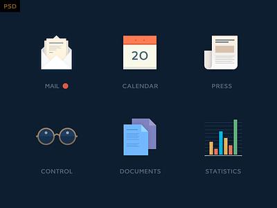 Mini icon kit - free psd freebie free icon flat simple clean psd 2d statistics mail press calendar