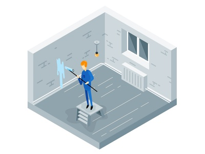 The Repair web building wall paint house modern isometric vector illustration 2d