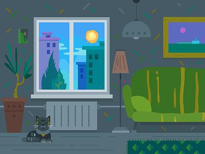 The Room cat illustrator 2d sofa window comfort house interior