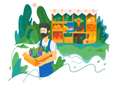 Purchase of vegetables on the farm eco fruit farm nature modern illustration