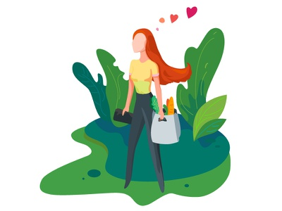 Satisfied Buyer Illustration summer girl eco nature shop illustration art web 2d