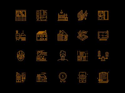 Building lineicon set line design web clean vector simple icon 2d