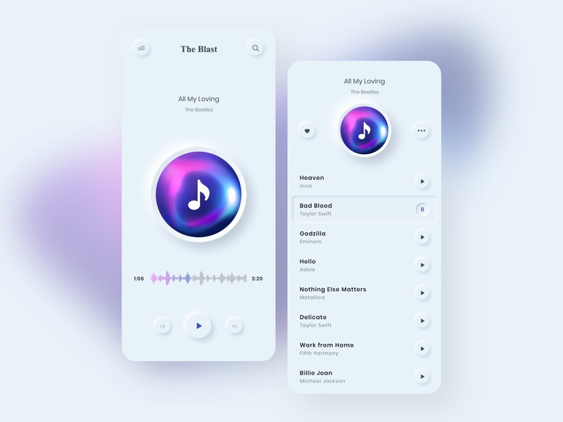 The Blast : Music app - Mobile design mobile app design gradient app music music player emboss app design mobile ui ux ui clean