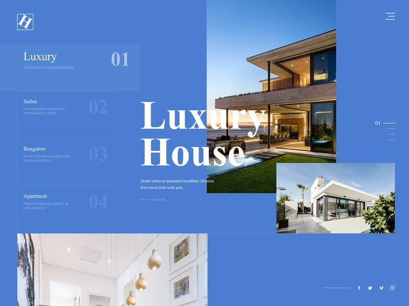 Real Estate : Luxury House Landing Page real estate realestate conceptdesign concept webdesign blue website landing page flat typography web design clean
