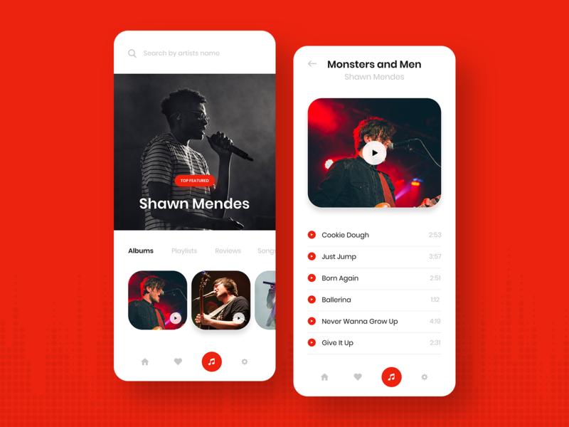 Music app designs app design bright colors music album singers user experience flat design ux ui clean mobile app design mobile apps music app