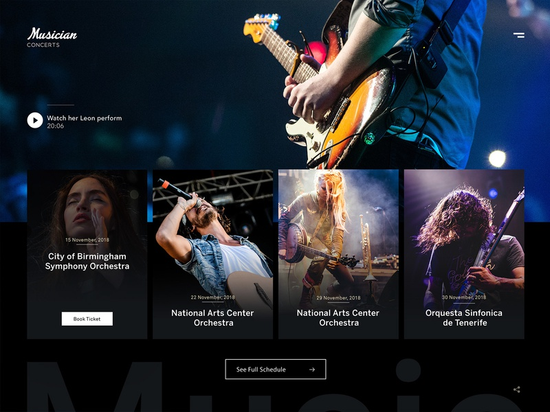 Musician Concerts Website Design music album music app competitions landing page design guitarist guitar singers music website webdesign dark ui concerts music musicians web design