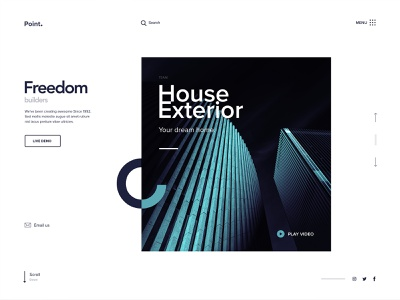Point. House Exterior 3d view video clean flat typography landing page house exterior design web app website dream home fresh colors webdesign homepage design builder exterior design house web design