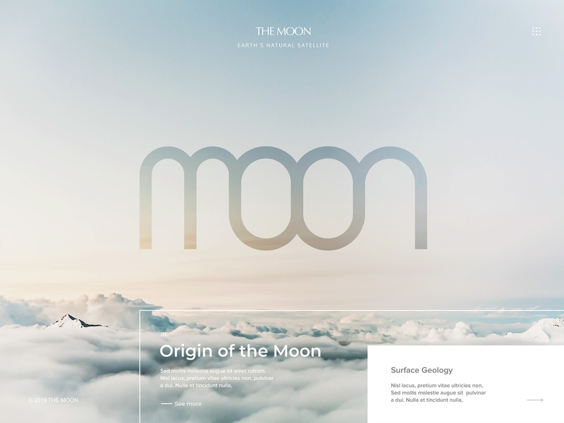 The Moon : Earth's Natural Satellite visual design website typography web design moonshine creative design landing page webdesign moon satellite earth web design clean