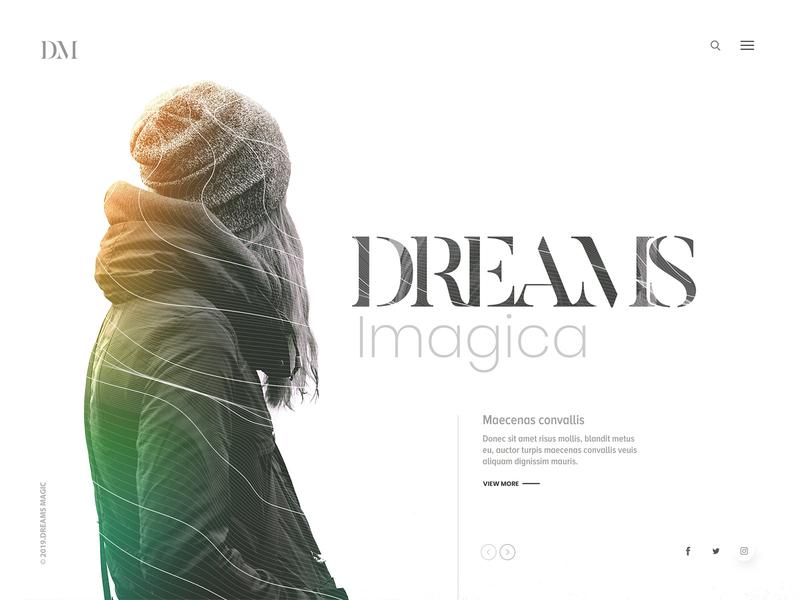 Dreams Imagica women girl light concept design art sliders personal portfolio website design web design clean design dream imagica website landing page typography clean web design