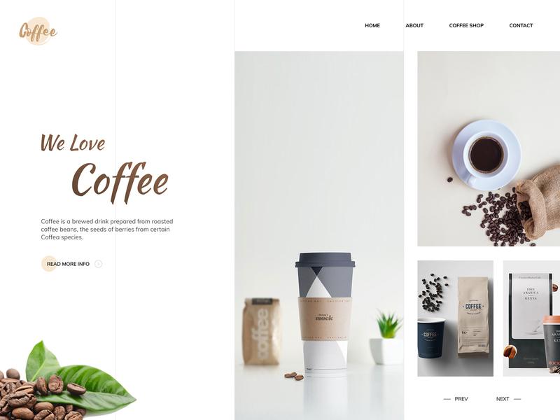 Coffee website concept light colors clean design concept design coffee brown website design web design coffee website coffee bean flat landing page web design clean